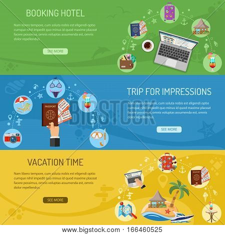 Vacation and Trip Horizontal Banners with Flat Icons Planning, Passport, Cocktail and Bungalow. vector illustration