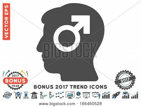 Cobalt And Gray Mind Potency pictograph with bonus 2017 trend design elements. Vector illustration style is flat iconic bicolor symbols, white background.