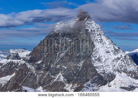 Closeup view of mount Matterhorn, Canton of Valais, Alps, Switzerland