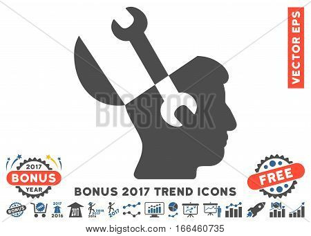 Cobalt And Gray Mind Wrench Tools icon with bonus 2017 year trend symbols. Vector illustration style is flat iconic bicolor symbols, white background.