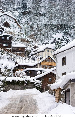 Village Hallstatt Winter Day View Alps Austria