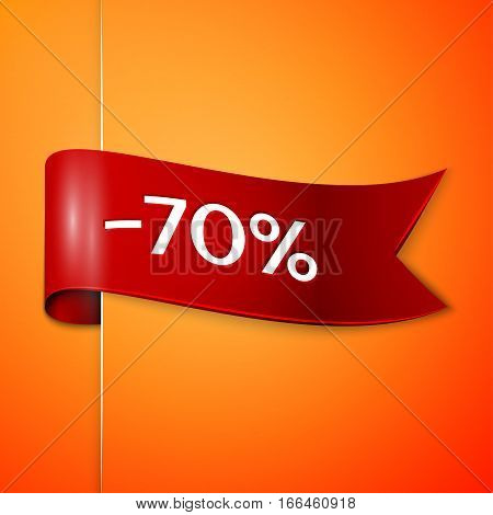 Red ribbon with inscription 70 percent discounts on orange background. Vector illustration.