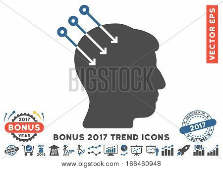 Cobalt And Gray Neural Interface Connectors icon with bonus 2017 trend pictograph collection. Vector illustration style is flat iconic bicolor symbols, white background.