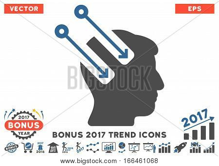 Cobalt And Gray Neural Interface pictograph with bonus 2017 year trend design elements. Vector illustration style is flat iconic bicolor symbols, white background.