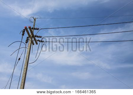 Electricity post with blue sky, electricity post  background