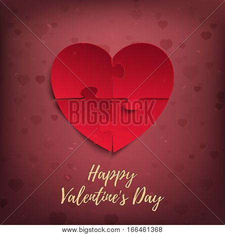 Happy Valentines Day, greeting card template. Jigsaw puzzle pieces in form of red heart, on blurred background with bokeh. Vector illustration.