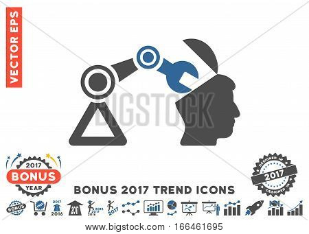 Cobalt And Gray Open Head Surgery Manipulator pictograph with bonus 2017 trend symbols. Vector illustration style is flat iconic bicolor symbols, white background.