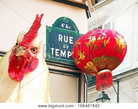Chinese New Year 2017, the year of the rooster, Paris, rue du Temple (France)