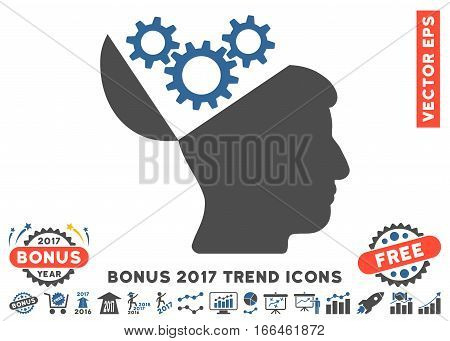 Cobalt And Gray Open Mind Gears icon with bonus 2017 year trend pictures. Vector illustration style is flat iconic bicolor symbols, white background.