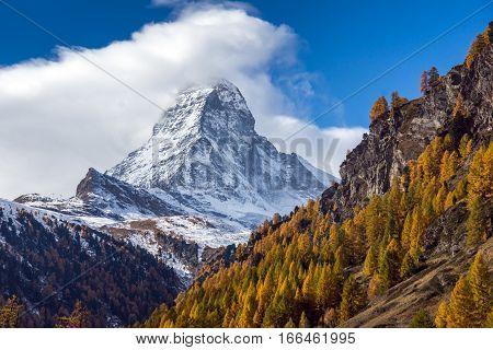 Autumn view of Mount Matterhorn, Canton of Valais, Switzerland