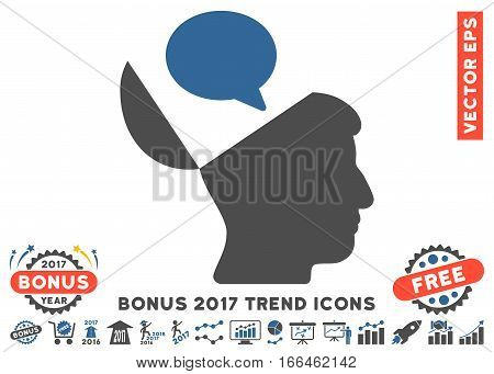 Cobalt And Gray Open Mind Opinion pictograph with bonus 2017 trend pictures. Vector illustration style is flat iconic bicolor symbols, white background.