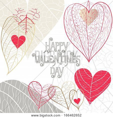 Concept of the square greeting card on Valentine's Day 14 February. Different hand drawn hearts from leaves with veins and physalis and holiday inscription with flourishes on white background.