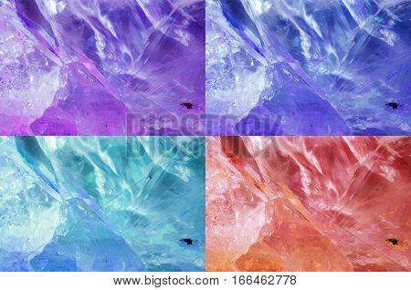 Set of different colorful beautiful quartz textures.