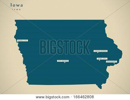 Modern Map - Iowa Usa Illustration Silhouette