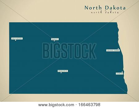 Modern Map - North Dakota Usa Illustration Silhouette