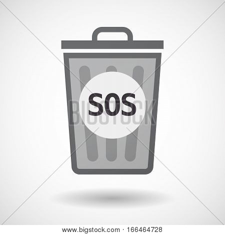 Isolated Trashcan With    The Text Sos