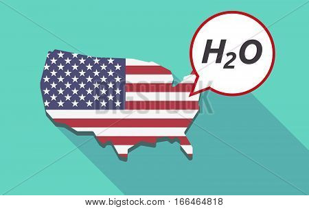 Long Shadow Usa Map With    The Text H2O