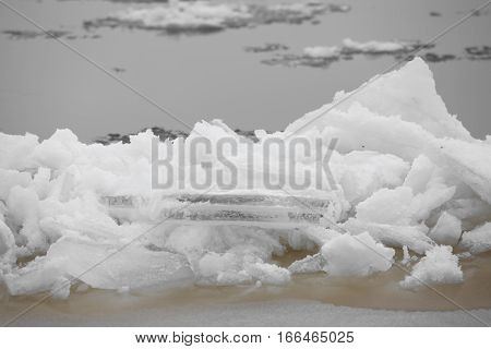 Winter nature background with blocks of ice
