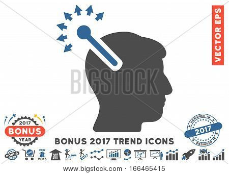 Cobalt And Gray Optical Neural Interface pictograph with bonus 2017 trend icon set. Vector illustration style is flat iconic bicolor symbols, white background.
