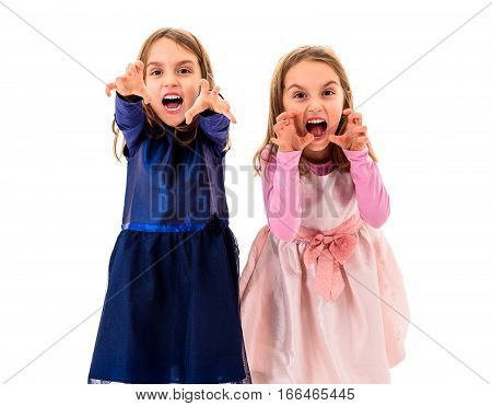 Twin Girls Are Angry, Mad And Disobedient With Bad Behavior.