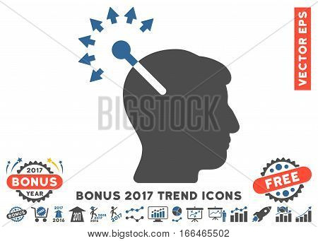 Cobalt And Gray Optical Neural Interface pictogram with bonus 2017 year trend clip art. Vector illustration style is flat iconic bicolor symbols, white background.