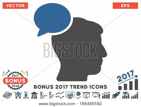 Cobalt And Gray Person Idea pictograph with bonus 2017 trend design elements. Vector illustration style is flat iconic bicolor symbols, white background.