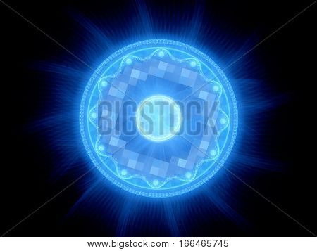 Blue glowing magical gate in space computer generated abstract background 3D render