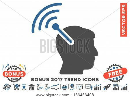 Cobalt And Gray Radio Neural Interface pictograph with bonus 2017 year trend clip art. Vector illustration style is flat iconic bicolor symbols, white background.