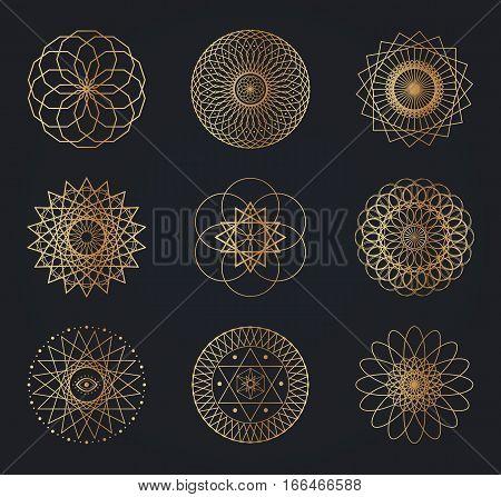 Sacred geometry symbols. Set of gold vector design elements isolated on black background.