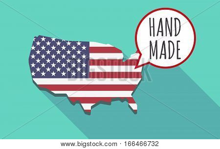 Long Shadow Usa Map With    The Text Hand Made