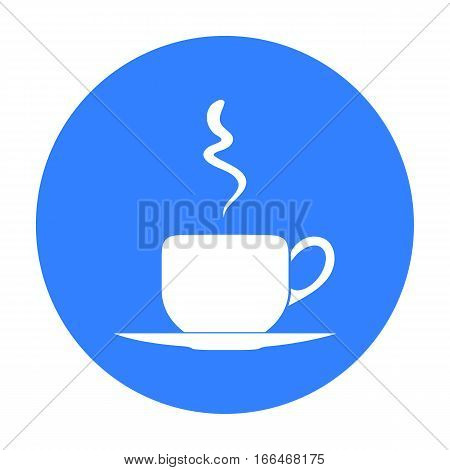 Coffee cup icon in  blue style isolated on white background. Restaurant symbol vector illustration. - stock vector