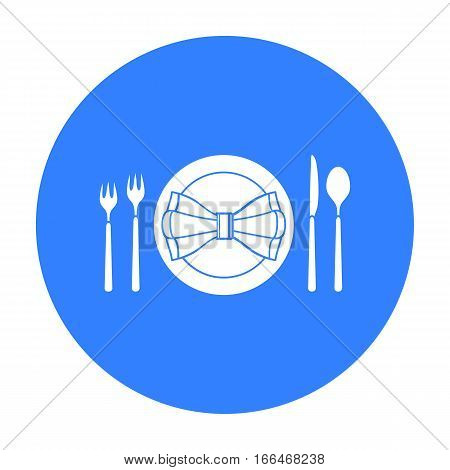 Restaurant table blackting icon in  blue  style isolated on white background. Restaurant symbol vector illustration. - stock vector