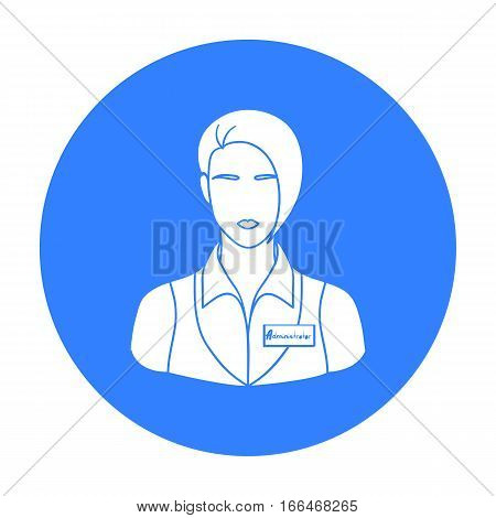 Restaurant waitress with a badge icon in  blue style isolated on white background. Restaurant symbol vector illustration. - stock vector