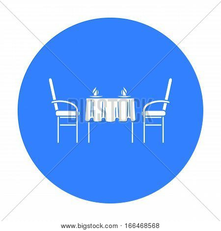 Restaurant table icon in  blue style isolated on white background. Restaurant symbol vector illustration. - stock vector