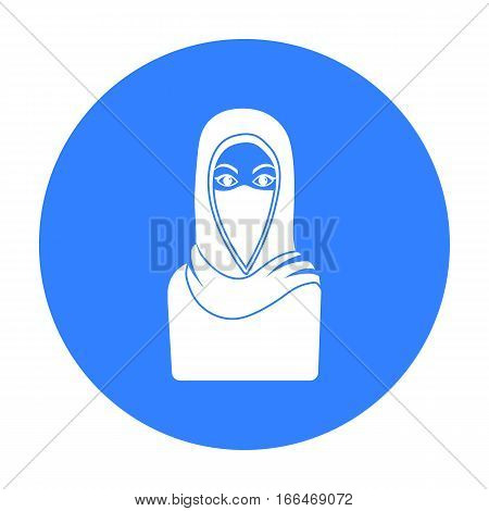 Niqab icon in blue style isolated on white background. Religion symbol vector illustration. - stock vector