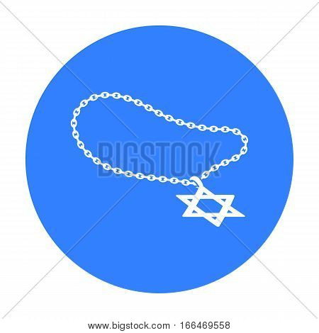 Star of David icon in blue style isolated on white background. Religion symbol vector illustration. - stock vector