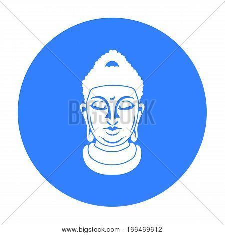 Buddha icon in blue style isolated on white background. Religion symbol vector illustration. - stock vector