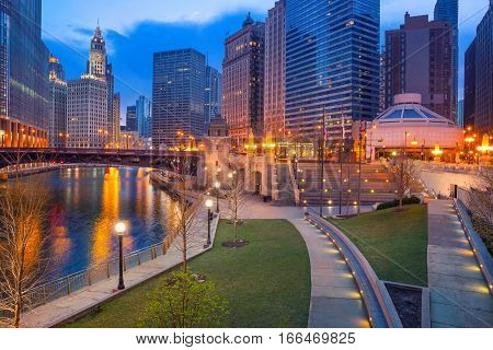 City of Chicago. Cityscape image of Chicago downtown during twilight blue hour.