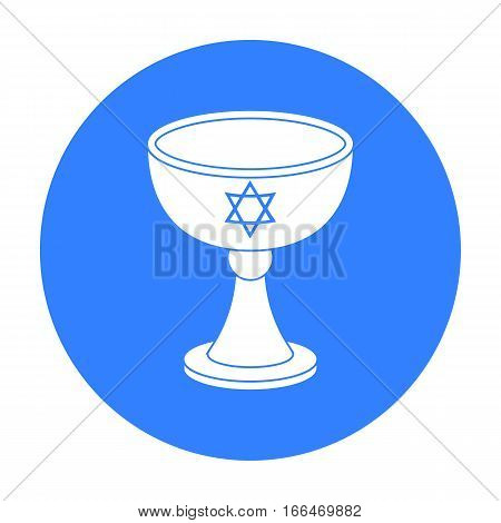 Wine cup icon in blue style isolated on white background. Religion symbol vector illustration. - stock vector