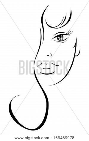 Contour Drawing Sensual Woman's Face