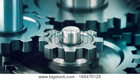 3D illustration of many gears working together with blur effect. Teamwork concept horizontal image
