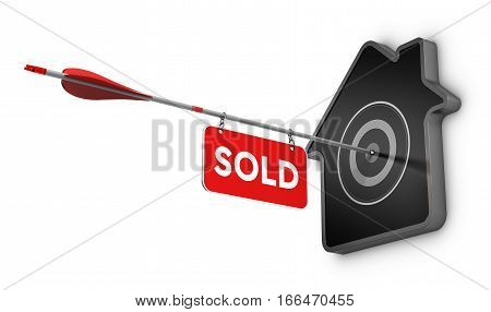 3D illustration of an arrow and sold sign hitting the center of a home shaped target Real estate concept over white background