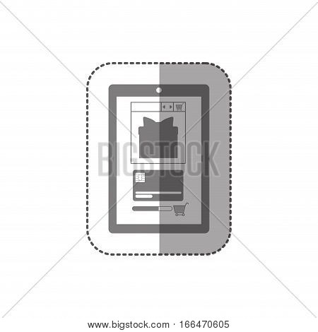 gray scale middle shadow sticker with touch tablet vector illustration