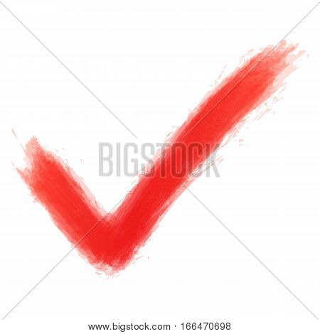 Red Check Mark Sign Watercolor Texture