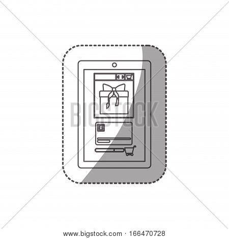 gray scale contour with middle shadow sticker of touch tablet vector illustration