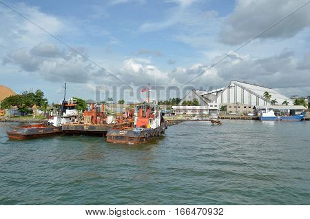 LAUTOKA FIJI - DEC 29 2016: Port of Lautoka Fiji's largest Port for handling bulk cargo specializing in bulk sugar molasses woodchips petroleum and gas.