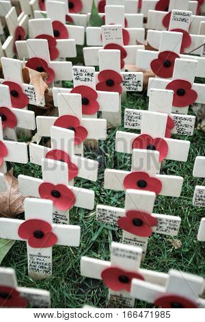 Full frame detail of messages of remembrance in tribute to those lost their lives in the line of duty.