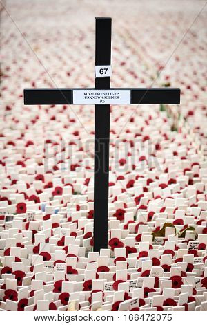 A large crucifix marked for The Unknown Soldier. Full frame detail of messages of remembrance in tribute to those lost their lives in the line of duty.