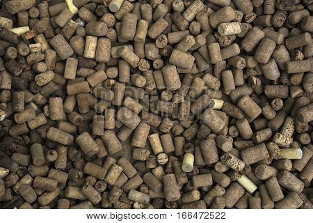 Close up of old shabby wine cork background