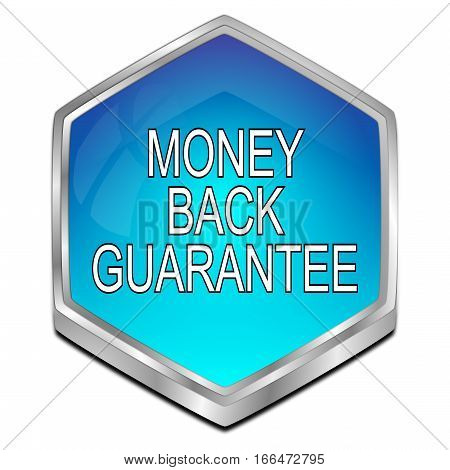 blue Money back Guarantee button - 3D illustration